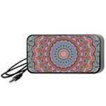 Abstract Painting Mandala Salmon Blue Green Portable Speaker (Black)  Front