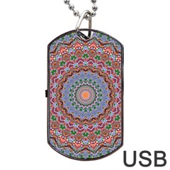 Abstract Painting Mandala Salmon Blue Green Dog Tag Usb Flash (one Side) by EDDArt