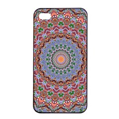 Abstract Painting Mandala Salmon Blue Green Apple Iphone 4/4s Seamless Case (black) by EDDArt