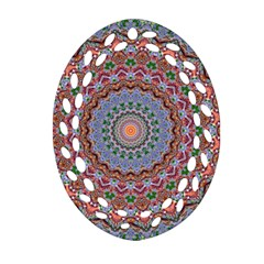 Abstract Painting Mandala Salmon Blue Green Ornament (oval Filigree)  by EDDArt