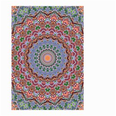 Abstract Painting Mandala Salmon Blue Green Small Garden Flag (two Sides) by EDDArt