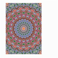 Abstract Painting Mandala Salmon Blue Green Large Garden Flag (two Sides) by EDDArt