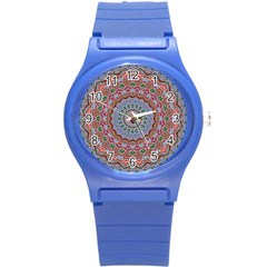 Abstract Painting Mandala Salmon Blue Green Round Plastic Sport Watch (s) by EDDArt