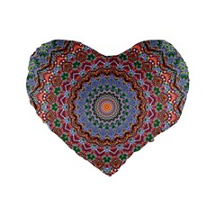 Abstract Painting Mandala Salmon Blue Green Standard 16  Premium Heart Shape Cushions by EDDArt