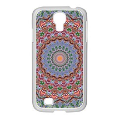 Abstract Painting Mandala Salmon Blue Green Samsung Galaxy S4 I9500/ I9505 Case (white)