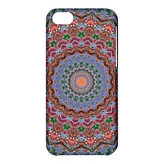 Abstract Painting Mandala Salmon Blue Green Apple Iphone 5c Hardshell Case by EDDArt