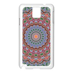Abstract Painting Mandala Salmon Blue Green Samsung Galaxy Note 3 N9005 Case (white) by EDDArt