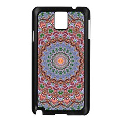 Abstract Painting Mandala Salmon Blue Green Samsung Galaxy Note 3 N9005 Case (black) by EDDArt