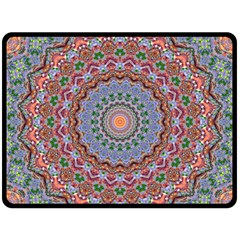 Abstract Painting Mandala Salmon Blue Green Double Sided Fleece Blanket (large)  by EDDArt