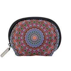 Abstract Painting Mandala Salmon Blue Green Accessory Pouches (small)