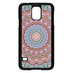Abstract Painting Mandala Salmon Blue Green Samsung Galaxy S5 Case (black)