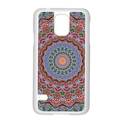 Abstract Painting Mandala Salmon Blue Green Samsung Galaxy S5 Case (white)