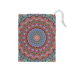 Abstract Painting Mandala Salmon Blue Green Drawstring Pouches (medium)  by EDDArt
