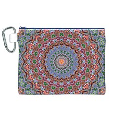 Abstract Painting Mandala Salmon Blue Green Canvas Cosmetic Bag (xl) by EDDArt