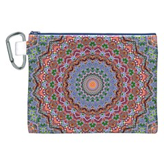 Abstract Painting Mandala Salmon Blue Green Canvas Cosmetic Bag (xxl) by EDDArt