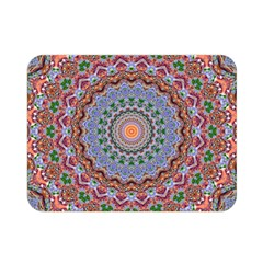 Abstract Painting Mandala Salmon Blue Green Double Sided Flano Blanket (mini)  by EDDArt