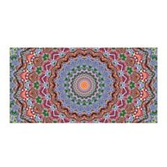 Abstract Painting Mandala Salmon Blue Green Satin Wrap by EDDArt