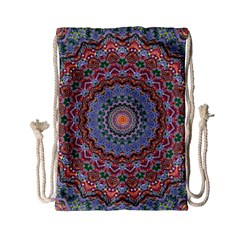 Abstract Painting Mandala Salmon Blue Green Drawstring Bag (small) by EDDArt