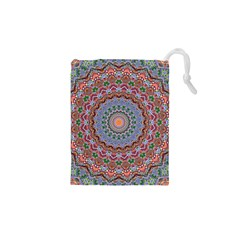 Abstract Painting Mandala Salmon Blue Green Drawstring Pouches (xs)  by EDDArt