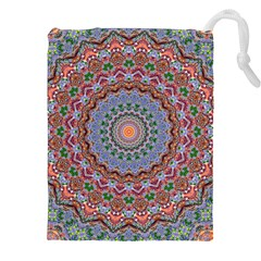 Abstract Painting Mandala Salmon Blue Green Drawstring Pouches (xxl) by EDDArt