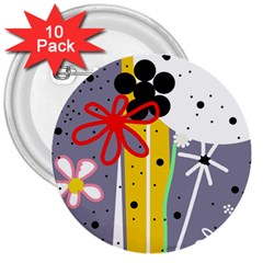 Flowers 3  Buttons (10 Pack)  by Valentinaart