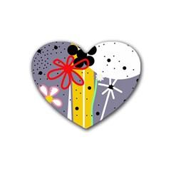Flowers Rubber Coaster (heart)  by Valentinaart