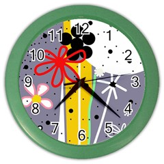 Flowers Color Wall Clocks by Valentinaart
