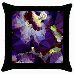 Purple Abstract Geometric Dream Throw Pillow Case (black) by DanaeStudio