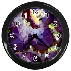 Purple Abstract Geometric Dream Wall Clocks (black) by DanaeStudio
