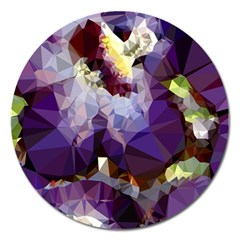 Purple Abstract Geometric Dream Magnet 5  (round) by DanaeStudio
