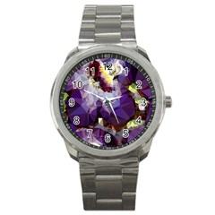 Purple Abstract Geometric Dream Sport Metal Watch by DanaeStudio