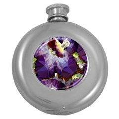 Purple Abstract Geometric Dream Round Hip Flask (5 Oz) by DanaeStudio