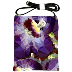 Purple Abstract Geometric Dream Shoulder Sling Bags by DanaeStudio