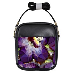 Purple Abstract Geometric Dream Girls Sling Bags by DanaeStudio