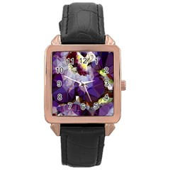 Purple Abstract Geometric Dream Rose Gold Leather Watch  by DanaeStudio