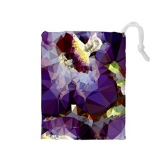 Purple Abstract Geometric Dream Drawstring Pouches (medium)  by DanaeStudio