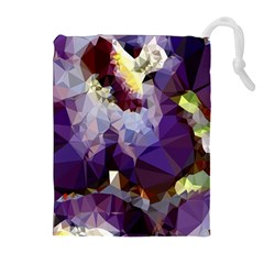 Purple Abstract Geometric Dream Drawstring Pouches (extra Large) by DanaeStudio
