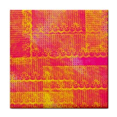 Yello And Magenta Lace Texture Tile Coasters by DanaeStudio