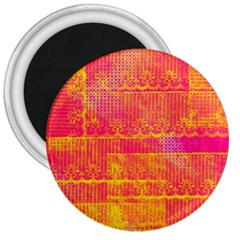 Yello And Magenta Lace Texture 3  Magnets by DanaeStudio