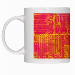 Yello And Magenta Lace Texture White Mugs by DanaeStudio