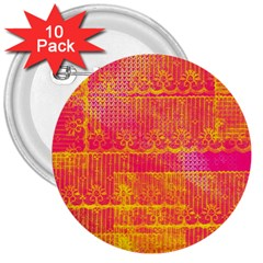 Yello And Magenta Lace Texture 3  Buttons (10 Pack)  by DanaeStudio