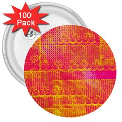 Yello And Magenta Lace Texture 3  Buttons (100 Pack)  by DanaeStudio