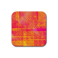 Yello And Magenta Lace Texture Rubber Square Coaster (4 Pack)  by DanaeStudio