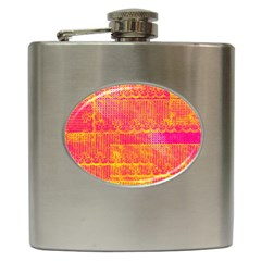 Yello And Magenta Lace Texture Hip Flask (6 Oz) by DanaeStudio