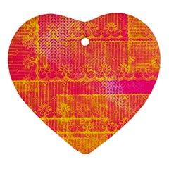 Yello And Magenta Lace Texture Heart Ornament (2 Sides) by DanaeStudio