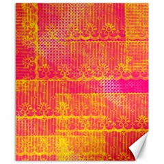 Yello And Magenta Lace Texture Canvas 8  X 10  by DanaeStudio
