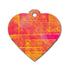 Yello And Magenta Lace Texture Dog Tag Heart (one Side) by DanaeStudio