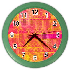 Yello And Magenta Lace Texture Color Wall Clocks by DanaeStudio