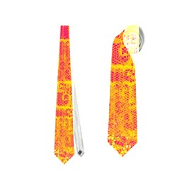 Yello And Magenta Lace Texture Neckties (two Side)  by DanaeStudio