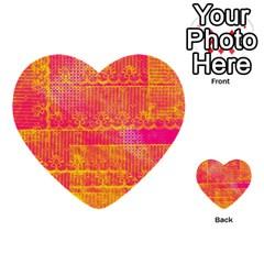 Yello And Magenta Lace Texture Multi Purpose Cards (heart)  by DanaeStudio